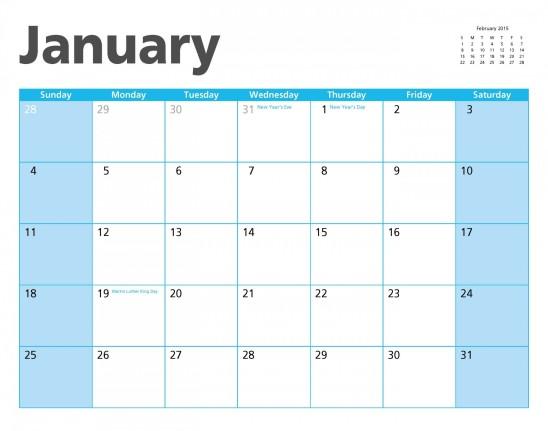 calendrier janvier 2015