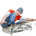 faire du skate skateur plache de skate fond blanc