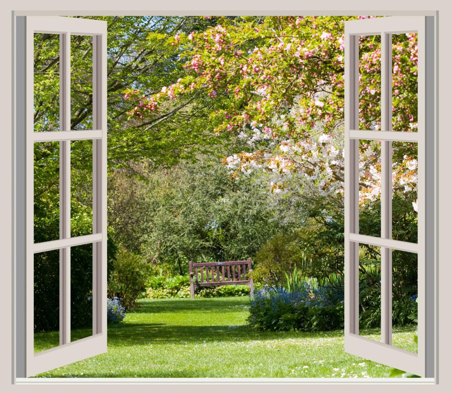 Fen tre ouverte et vue sur un jardin de fleurs images for La fenetre ouverte