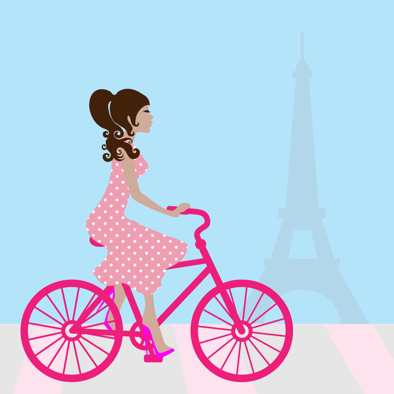 Illustration femme v lo fille bicyclette paris tour - Tour eiffel photos gratuites ...