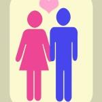 illustration, couple, homme femme amour