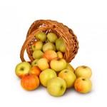 panier de pomme isolé sur fond blanc