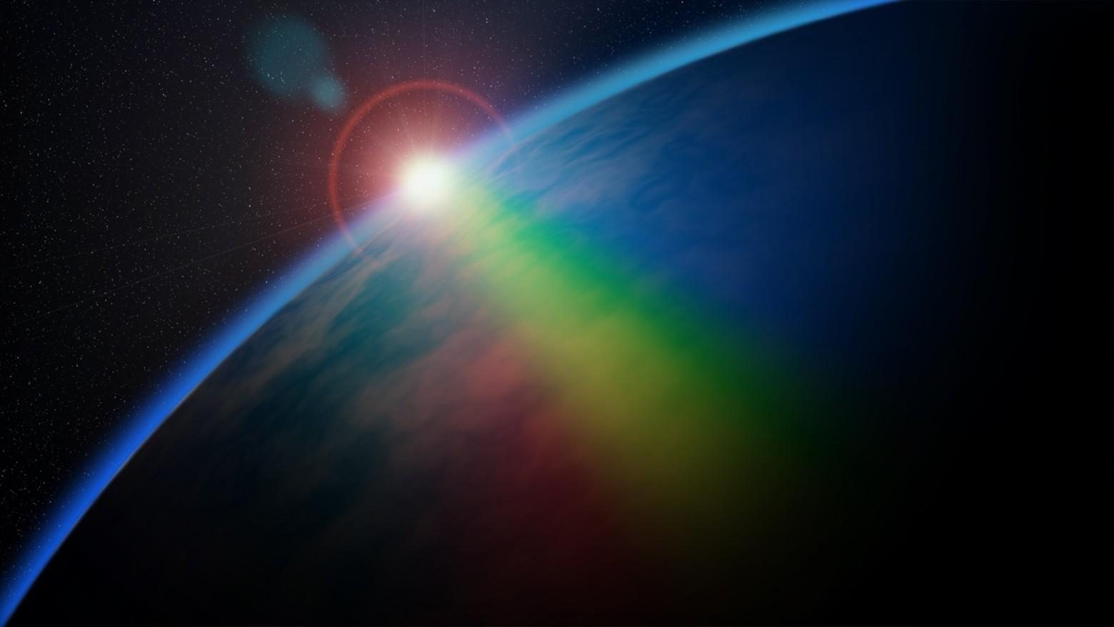 Un arc en ciel au dessus de la plan te terre photos - Image arc en ciel gratuite ...