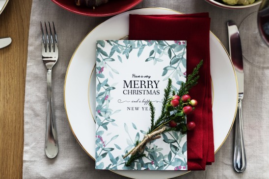 Aerial view of Christmas menu card