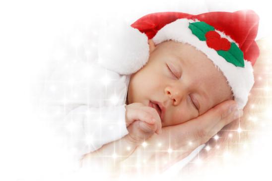 bébé Noël fille garçon enfant père Noël dormir