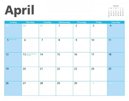calendrier avril 2015