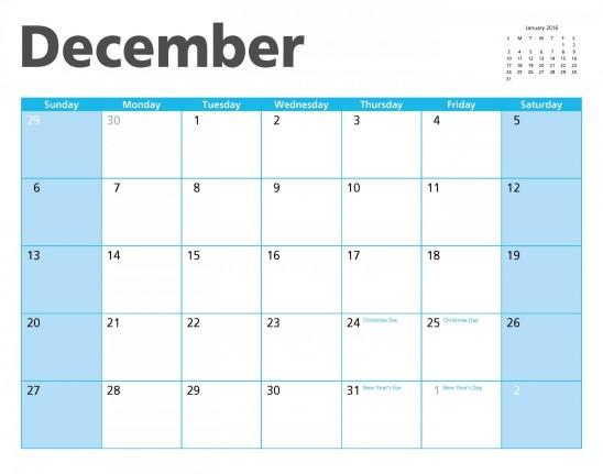 calendrier décembre 2015