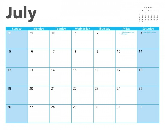 calendrier juillet 2015