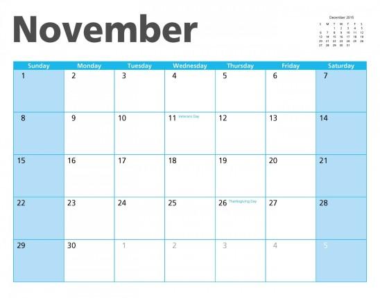 calendrier novembre 2015