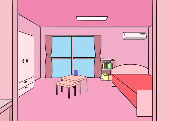 illustration chambre d' enfant fille rose
