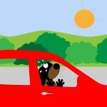 illustration chien voiture soleil maltraitance animaux