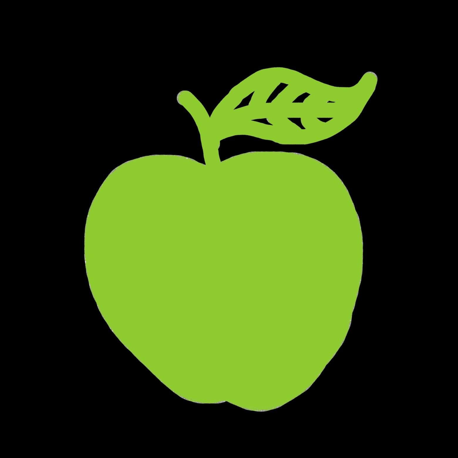 pomme verte sur fond noir  illustration