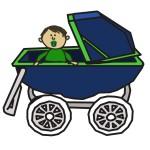 bébé dans une poussette