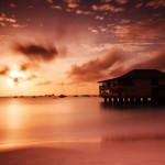 paysage mer océan plage coucher de soleil cabane ponton images photos gratuites