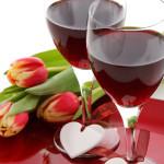 verres de vins rouge coeur fleur tulipe fête saint-valentin images gratuites