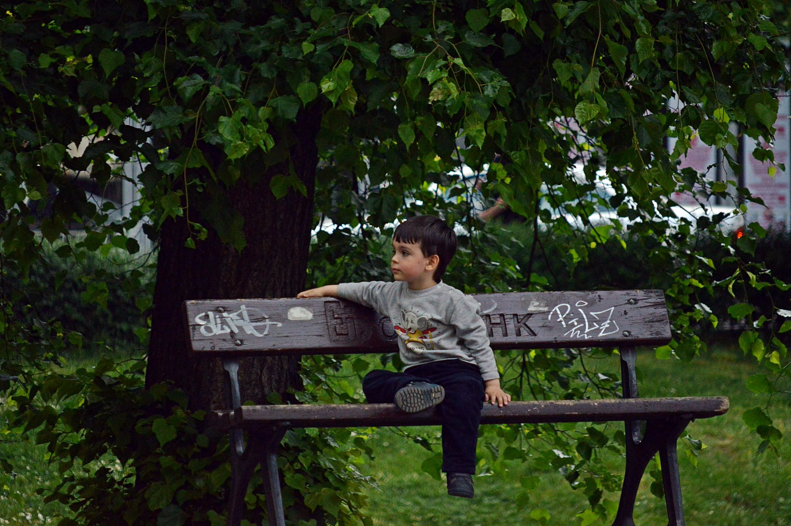 enfant petit gar on seul assis sur un banc images photos gratuites images gratuites et libres. Black Bedroom Furniture Sets. Home Design Ideas
