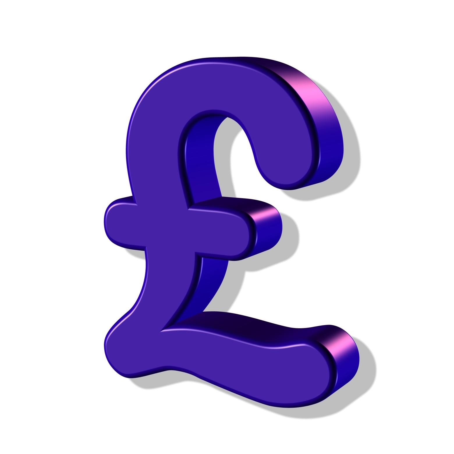 Symbole Logo 3d Livre Sterling Argent Monnaie Banque