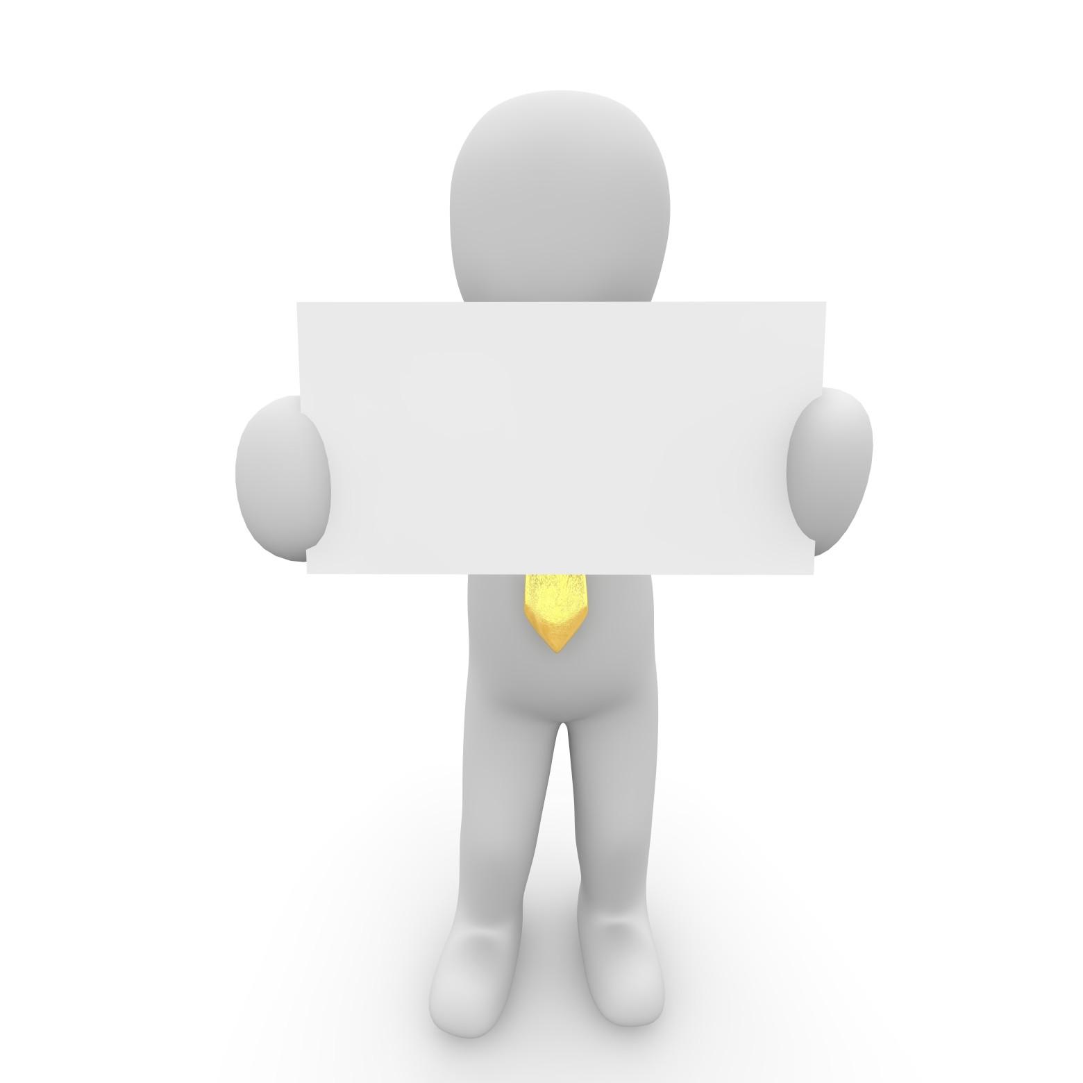 un homme et une pancarte blanche images gratuites et libres de droits. Black Bedroom Furniture Sets. Home Design Ideas