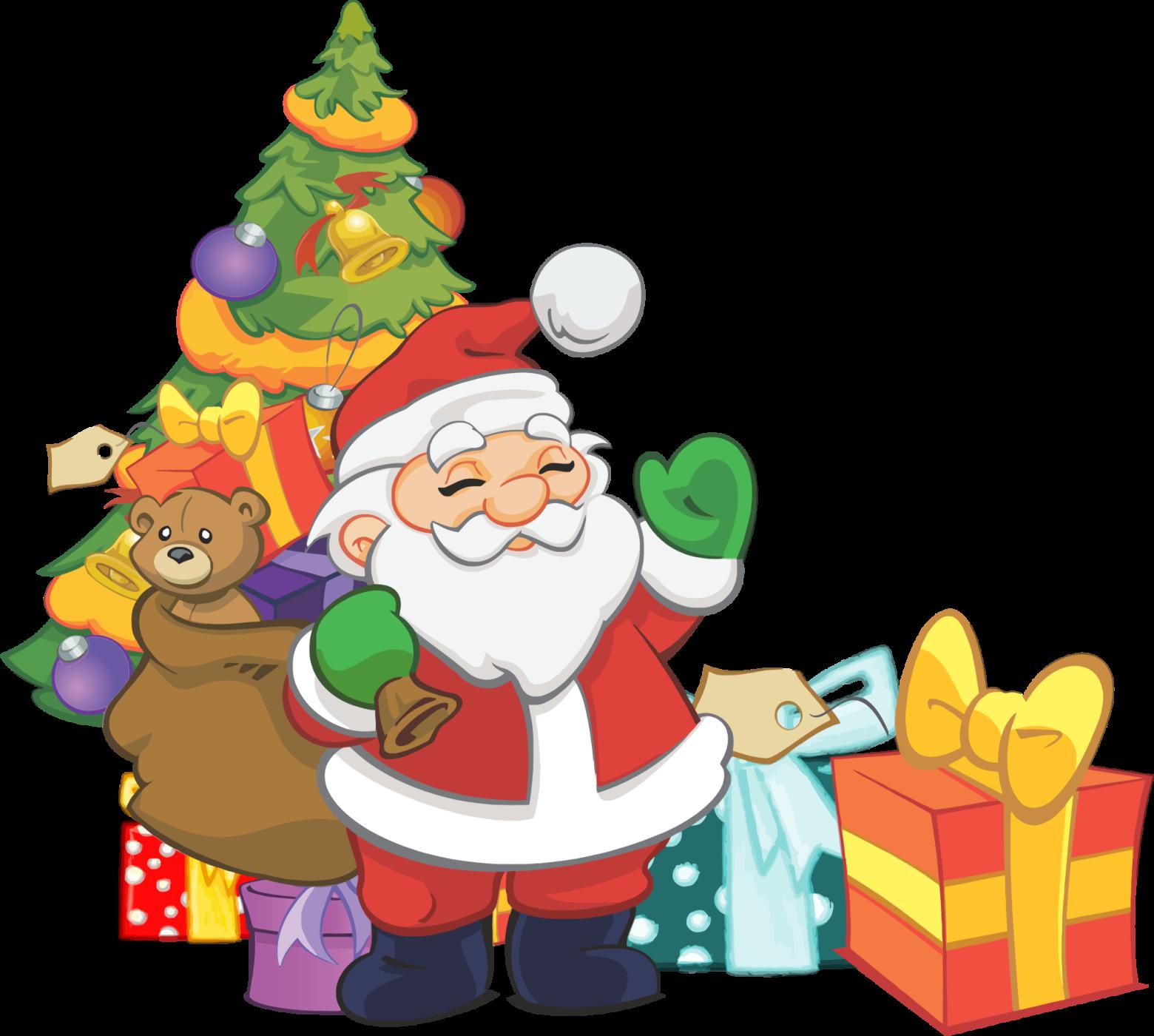 clipart père noel sapin jouet cadeaux | images gratuites ...